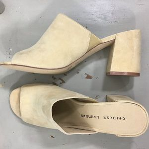 Chinese Laundry Suede Open Toe Block Heel
